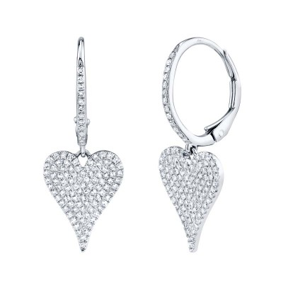 0.47ct 14k White Gold Diamond Pave Heart Earring