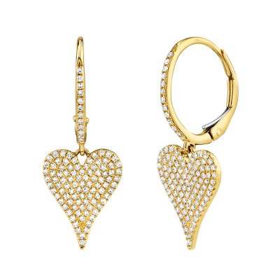 0.47ct 14k Yellow Gold Diamond Pave Heart Earring