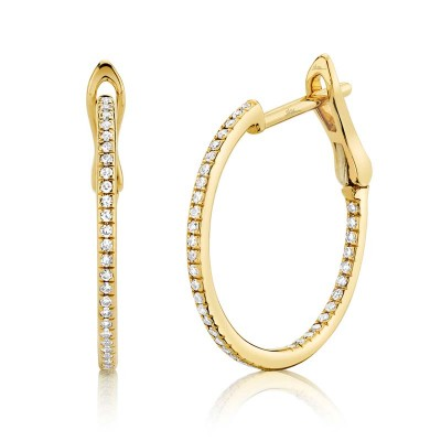 0.21ct 14k Yellow Gold Diamond Hoop Earring