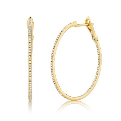0.40ct 14k Yellow Gold Diamond Hoop Earring