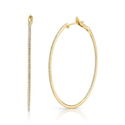 0.66Ct 14k Yellow Gold Diamond Hoop Earring