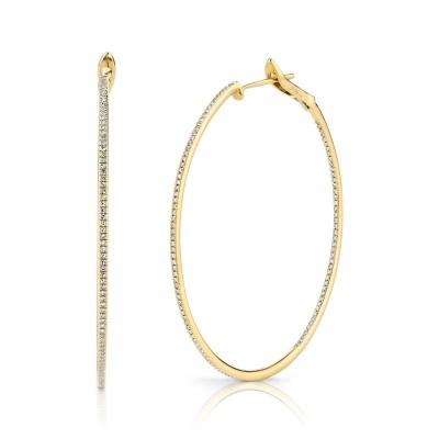 0.66Ct 14k Yellow Gold Diamond Hoop Earring