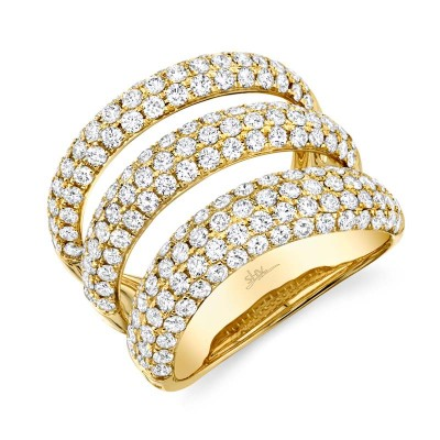 2.55ct 14k Yellow Gold Diamond Pave Lady's Ring