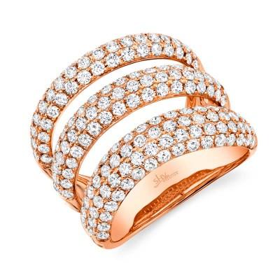 2.55ct 14k Rose Gold Diamond Pave Lady's Ring