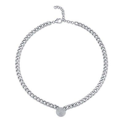 0.49ct 14k White Gold Diamond Pave Chain Necklace