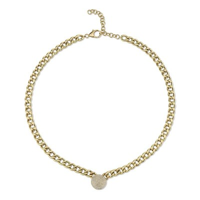 0.49ct 14k Yellow Gold Diamond Pave Chain Necklace