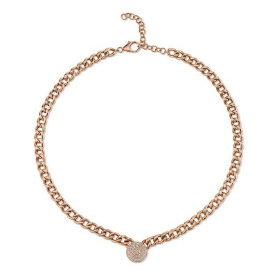 0.49ct 14k Rose Gold Diamond Pave Chain Necklace