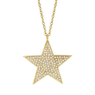 0.26ct 14k Yellow Gold Diamond Star Necklace