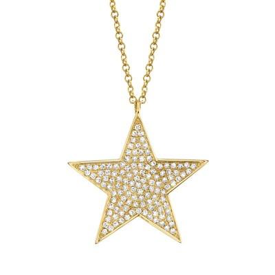 0.26ct 14k Yellow Gold Diamond Star Necklace