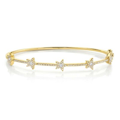 0.47ct 14k Yellow Gold Diamond Star Bangle