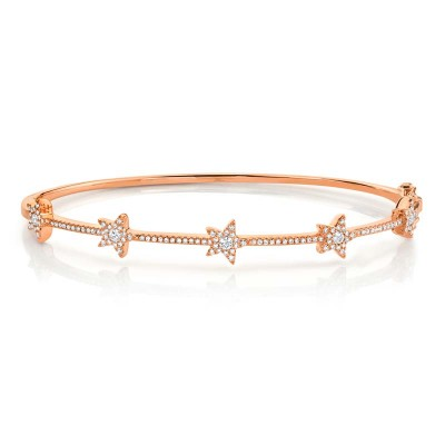 0.47ct 14k Rose Gold Diamond Star Bangle