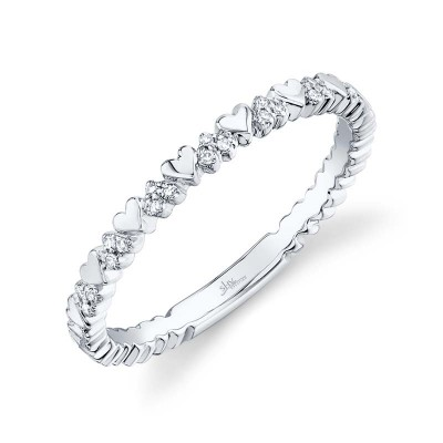 0.05ct 14k White Gold Diamond Lady's Heart Ring