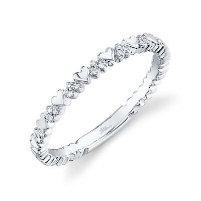 0.05ct 14k White Gold Diamond Lady's Heart Ring