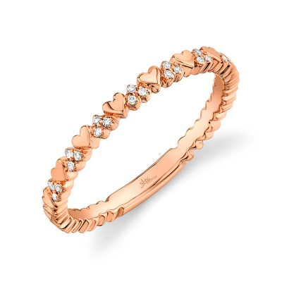 0.05ct 14k Rose Gold Diamond Lady's Heart Ring