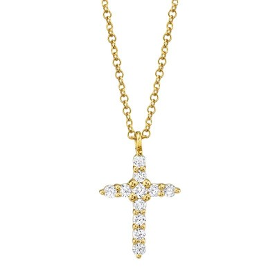 0.17ct 14k Yellow Gold Diamond Cross Necklace