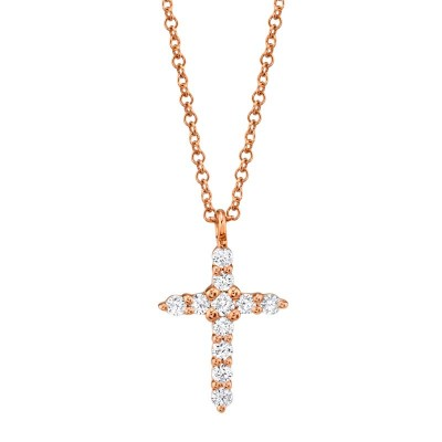 0.17ct 14k Rose Gold Diamond Cross Necklace