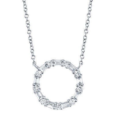 0.29ct 14k White Gold Diamond Baguette Oval Necklace