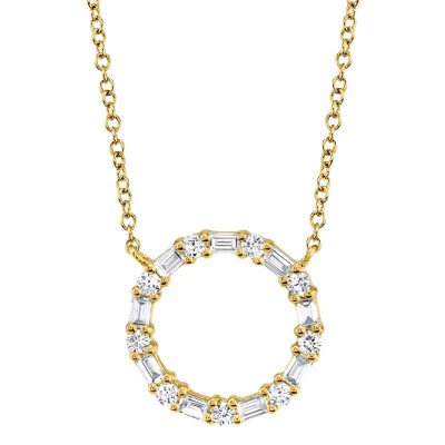0.29ct 14k Yellow Gold Diamond Baguette Oval Necklace