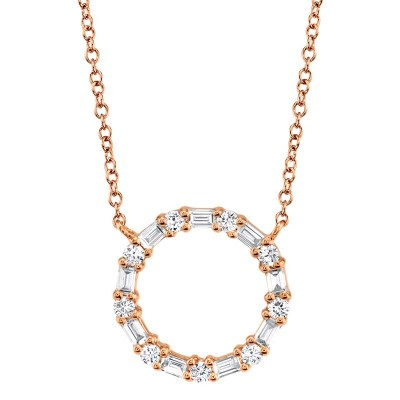 0.29ct 14k Rose Gold Diamond Baguette Oval Necklace
