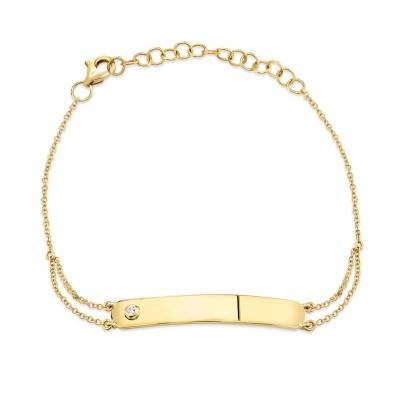 0.02ct 14k Yellow Gold Diamond Bar ID Bracelet
