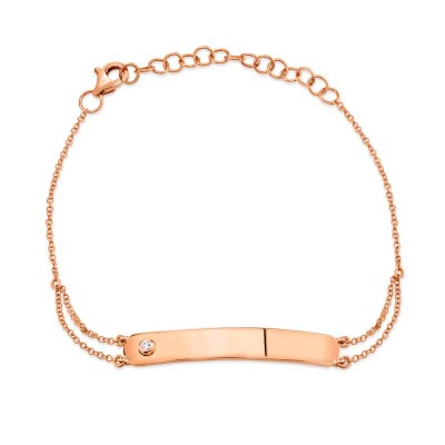 0.02ct 14k Rose Gold Diamond Bar ID Bracelet