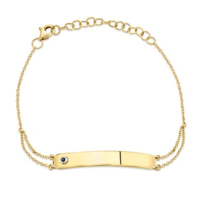 0.02ct 14k Yellow Gold Blue Sapphire Bar ID Bracelet