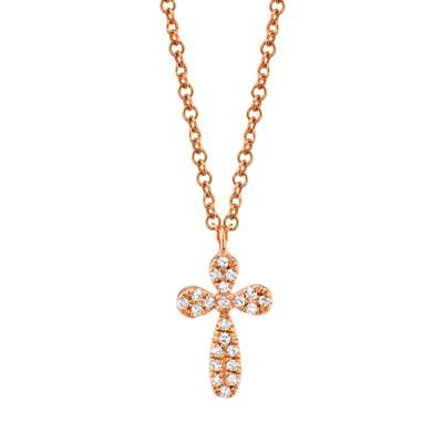 0.05ct 14k Rose Gold Diamond Pave Cross Necklace