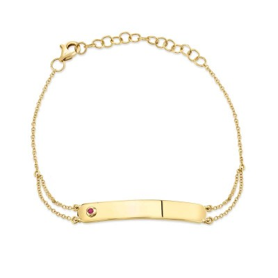 0.02ct 14k Yellow Gold Ruby Bar ID Bracelet