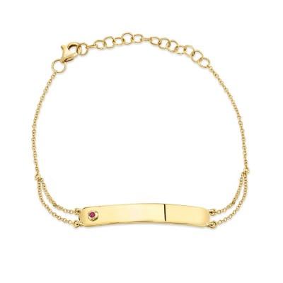 0.02ct 14k Yellow Gold Ruby Bar ID Bracelet