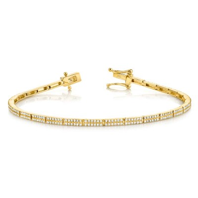 0.87Ct 14k Yellow Gold Diamond Pave Bracelet