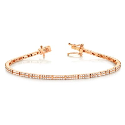 0.87Ct 14k Rose Gold Diamond Pave Bracelet