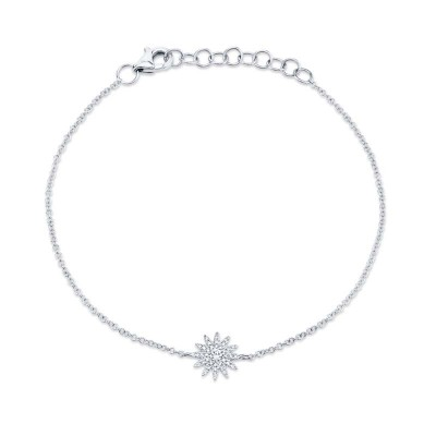 0.14ct 14k White Gold Diamond Star Bracelet