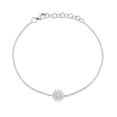 0.14ct 14k White Gold Diamond Star Bracelet
