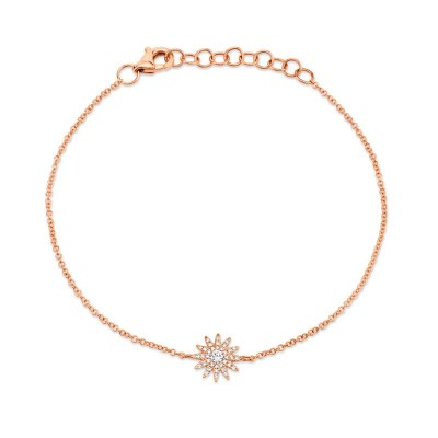 0.14ct 14k Rose Gold Diamond Star Bracelet
