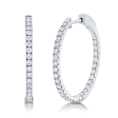 0.97ct 14k White Gold Diamond Hoop Earring