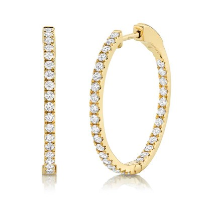 0.97ct 14k Yellow Gold Diamond Hoop Earring