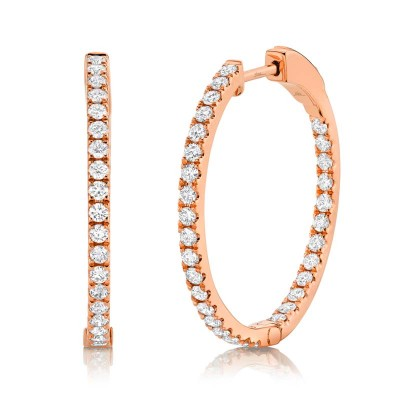 0.97ct 14k Rose Gold Diamond Hoop Earring
