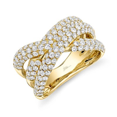 2.00ct 14k Yellow Gold Diamond Pave Bridge Ring