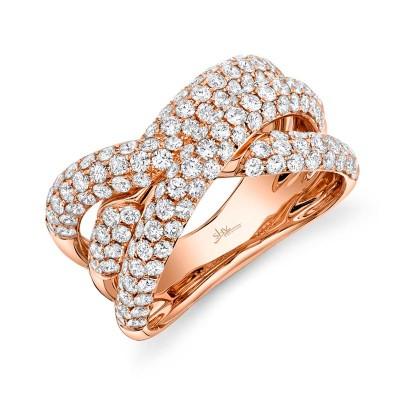 2.00ct 14k Rose Gold Diamond Pave Bridge Ring