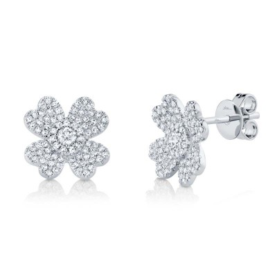 0.45ct 14k White Gold Diamond Pave Clover Earring