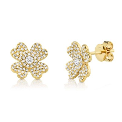 0.45Ct 14k Yellow Gold Diamond Pave Clover Earring