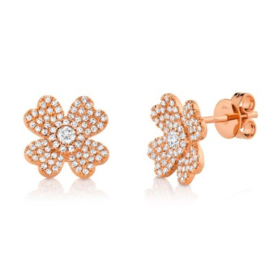 0.45Ct 14k Rose Gold Diamond Pave Clover Earring