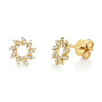 0.17ct 14k Yellow Gold Diamond Flower Stud Earring
