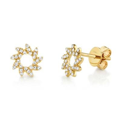 0.17ct 14k Yellow Gold Diamond Flower Stud Earring