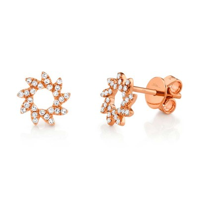0.17ct 14k Rose Gold Diamond Flower Stud Earring