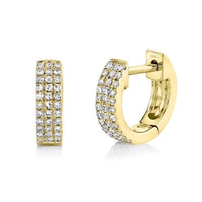 0.17ct 14k Yellow Gold Diamond Pave Huggie Earring