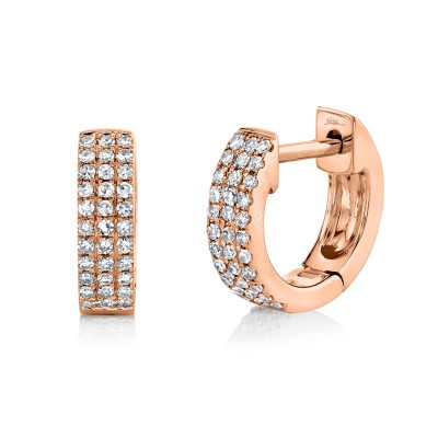 0.17ct 14k Rose Gold Diamond Pave Huggie Earring