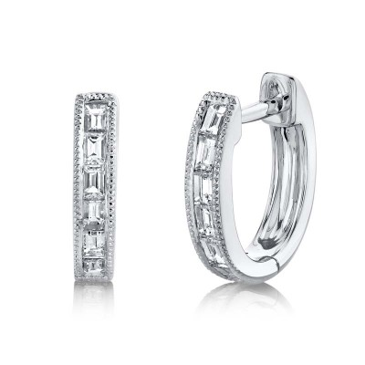 0.33ct 14k White Gold Diamond Baguette Huggie Earring