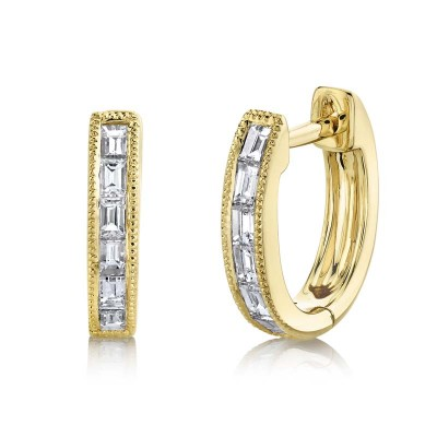 0.33ct 14k Yellow Gold Diamond Baguette Huggie Earring