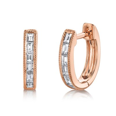 0.33ct 14k Rose Gold Diamond Baguette Huggie Earring